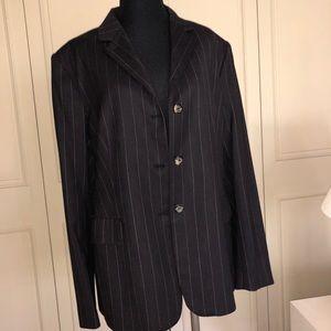 Piazza Sempione Black Pinstripe Pant Suit